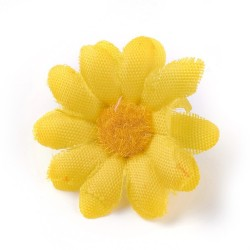 5 τεμ, 40 χλστ, Κεφαλή Τεχνητού Λουλουδιού, Μετάξωτο Πανί, για Διακόσμηση Πάρτι-Στεφάνι Γάμου, Κίτρινη Μαργαρίτα