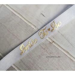 """1 μέτρο, 13 χλστ πάχος, Σατέν Κορδέλα, """"Bride to be"""", Λευκό-Χρυσό"""