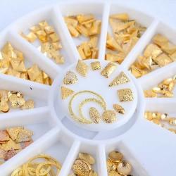 36 τεμ, 6~10 χλστ, Μεταλλικά Διακοσμητικά για DIY Τεχνητά Νύχια, Γεωμετρικά Σχήματα, Μικτό Σχήμα, Χρυσά