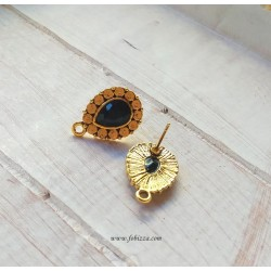 1 ζευγ, 21 χλστ, Ορείχαλκος, Σκουλαρίκια με Μαύρο Διαμαντάκι και Σύνδεσμο, Χρυσό Αντίκας