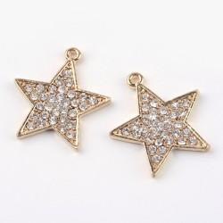 1 τεμ, 26 χλστ, Ορείχαλκος με Διαμαντάκια, Αστέρι,Κρεμαστό, Χρυσό