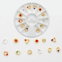 12 τεμ/Box, 6 χλστ, Μεταλλικά Διακοσμητικά με Διαμαντακι για DIY Τεχνητά Νύχια, Μικτό Σχήμα, Μικτό Χρώμα, Χρυσή Βάση