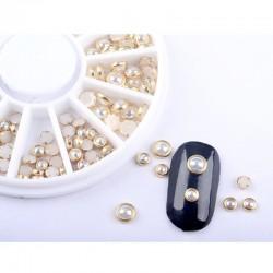 120 τεμ, 3 & 5 χλστ, Πέρλες με Χαλκό για DIY Τεχνητά Νύχια, Flat Στρογγυλό, Μικτό Σχήμα, Μπεζ