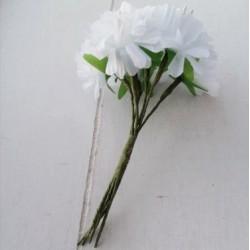 6 τεμ, 3.5 εκατ, Μπουκέτο με Τεχνητά Λουλούδια, Μετάξωτο Πανί για Διακόσμηση, Λευκό