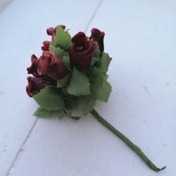 12 τεμ, 2 εκατ, Μπουκέτο με Τριαντάφυλλα, Λουλούδια απο Μετάξωτο Πανί, για DIY, σε Μπορντώ, Μελί, Γαλάζιο και Μπλέ Σταχτί
