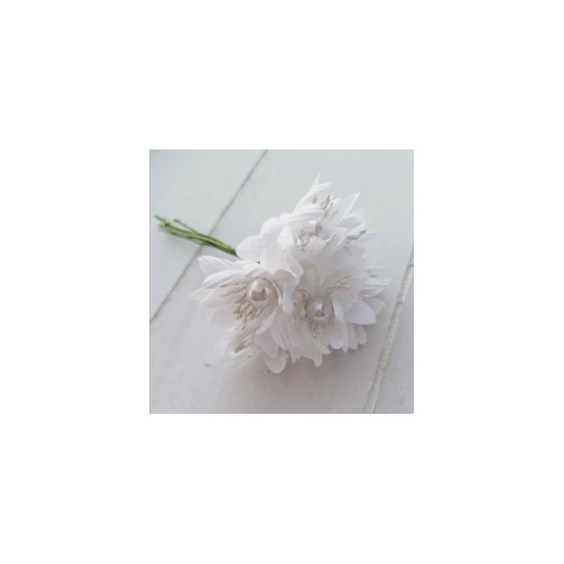 6 τεμ, 4 εκατ, Μπουκέτο με Τεχνητά Λουλούδια και Πέρλες, Μετάξωτο Πανί για Διακόσμηση, Λευκό