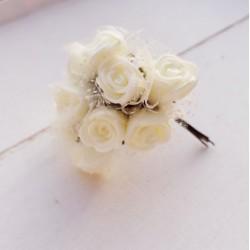 12 τεμ, 2.5 εκατ, Μπουκέτο με Τριαντάφυλλα, Λουλούδια απο Foam και Τούλι, για Διακόσμηση, DIY, Λευκό και Ιβουάρ Τριαντάφυλλο