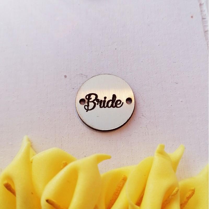 """1 τεμ. 20 χλστ, Ακρυλικό με Συνδέσμους και Κείμενο """"Bride"""", Στρογγυλό, Χρυσό"""