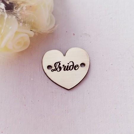 """1 τεμ. 23 χλστ, Ακρυλικό με Συνδέσμους και Κείμενο """"Bride"""", Καρδιά, Χρυσό"""