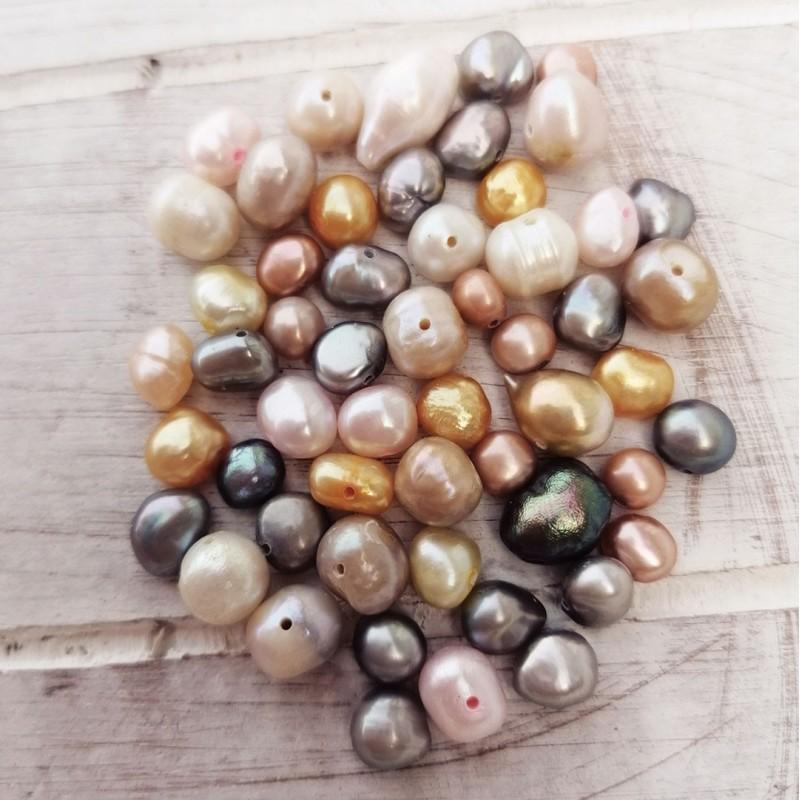 10 τεμ, 5-8 χλστ, Μαργαριτάρια Γλυκού Νερού, Χάντρα, Μικτό Χρώμα