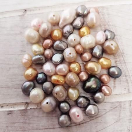 10 τεμ, 4-8 χλστ, Μαργαριτάρια Γλυκού Νερού, Χάντρα, Μικτό Χρώμα