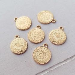5 τεμ, 19 χλστ, Χαλκός, Φλουρί, Flat Στρογγυλό, Κρεμαστό, Χρυσό