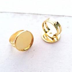 1 τεμ, 18 χλστ Δίσκος, Δαχτυλίδι από Χαλκό, Ρυθμιζόμενο, Εξάρτημα Βάση, Χρυσό