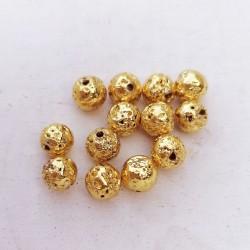 10 τεμ, 6 χλστ, Λάβα, Χάντρα, Στρογγυλή, Χρυσή