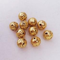 10 τεμ, 8 χλστ, Λάβα, Χάντρα, Στρογγυλή, Χρυσή