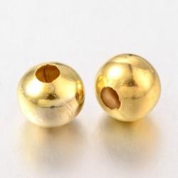 20 τεμ, 8 χλστ διάμετρος, 2 χλστ τρύπα, Μεταλλικές Χάντρα, Στρογγυλό, Χρυσό