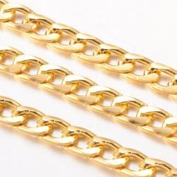 1 μ, 12 χλστ, Αλουμινίου Στριφτή Αλυσίδα, Oval, Χρυσό