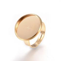 1 τεμ, 18 χλστ Δίσκος, Δαχτυλίδι απο 304 Ανοξείδωτο Ατσάλι, Ρυθμιζόμενο, Εξάρτημα Βάση, Χρυσό