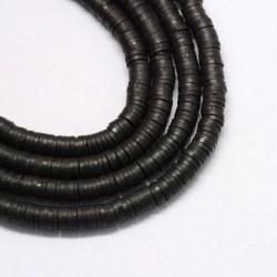 350 τεμ, 4 χλστ, Χάντρες απο Πολυμερικό Πηλό, Ροδέλα/Δίσκος, Μαυρο