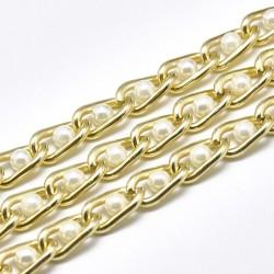 1 μ, 12x6 χλστ κάθε κρίκος, Αλουμίνιου Αλυσίδα με Πέρλες, Χρώμα Χρυσό