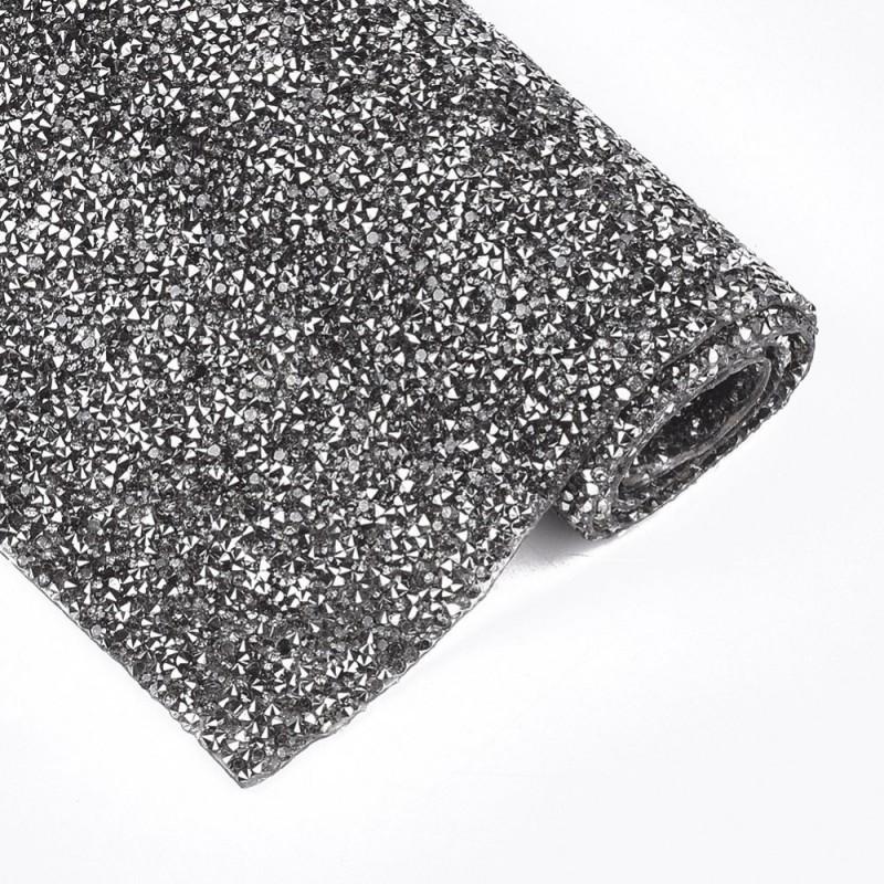 1 τεμ, 24x10 εκατ, Κρυστάλλινα Διαμαντάκια με κολλα Hotfix για Παπουτσια και Τσάντες, Μαύρο