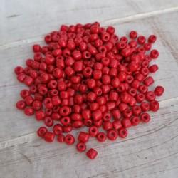 20γρ/250~300 τεμ, 4 χλστ, Γυάλινες Χάνδρες Σπόρος, Αδιάφανο, Κόκκινο