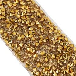 20 εκατ, 10 εκατ πλάτος, Κρυστάλλινα Διαμαντάκια με κολλα Hotfix για Παπουτσια και Τσάντες, Χρυσό