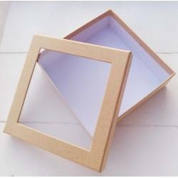 1 τεμ, 12x4 εκατ, Κουτί με Διαφάνια, Χάρτινο, Τετράγωνο, Μπεζ