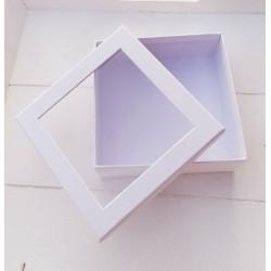 1 τεμ, 12x4 εκατ, Κουτί με Διαφάνια, Χάρτινο, Τετράγωνο, Λευκό