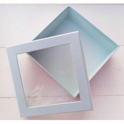 1 τεμ, 12x4 εκατ, Κουτί με Διαφάνια, Χάρτινο, Τετράγωνο, Γαλάζιο