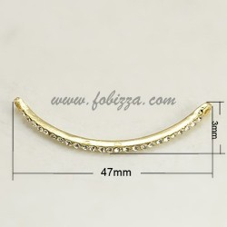 Golden Tone Alloy Grade A Crystal Rhinestone Curved Tube Links, 47x3x3.5mm, hole: 2mm