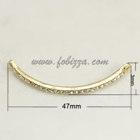 1 τεμ, 47x3x3.5 χλστ, τρύπα 2 χλστ, Κράμα με κρύσταλλα συνδεδεμένα σε ενα καμπυλωτό σωλήνα, Χρυσό