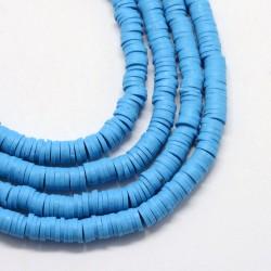 350 τεμ, 4 χλστ, Χάντρες απο Πολυμερικό Πηλό, Ροδέλα/Δίσκος, Μπλε