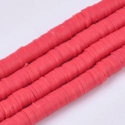 350 τεμ, 6 χλστ, Χάντρες απο Πολυμερικό Πηλό, Ροδέλα/Δίσκος, Κόκκινο