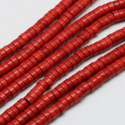 80 τεμ. 4x2 χλστ, Συνθετική Χάντρα Τυρκουαζ, Ροδέλα, σε Κόκκινο