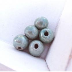 1 τεμ, 14 χλστ, Κεραμικές Χάντρες, Στρογγυλή, Γαλαζοπράσινη