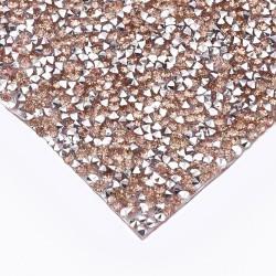1 τεμ, 24x10 εκατ, Κρυστάλλινα Διαμαντάκια με κολλα Hotfix για Παπουτσια και Τσάντες, Χρυσό