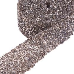 10 εκατ, 30 χλστ πλάτος, Κρυστάλλινα Διαμαντάκια με κολλα Hotfix για Παπουτσια και Τσάντες, Ασημί