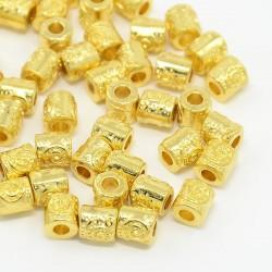 10 τεμ, 5 χλστ, Μεταλλικές Στρογγυλές Χάντρες, Χρυσό
