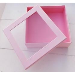 1 τεμ, 12x4 εκατ, Κουτί με Διαφάνια, Χάρτινο, Τετράγωνο, Ροζ
