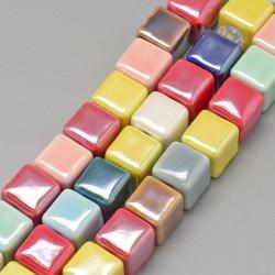 1 τεμ, 12 χλστ, Πορσελάνη, Χάντρα, Τετράγωνο, σε Κόκκινο, Κίτρινο, Ιβουαρ, Σκούρο Πράσινο