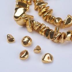 10 τεμ, 5-12 χλστ, Αιματίτης Chips Χάντρες, Ημιπολύτιμοι λίθοι, Χρυσό