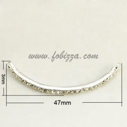 Silver Tone Alloy Grade A Crystal Rhinestone Curved Tube Links, 47x3x3.5mm, hole: 2mm