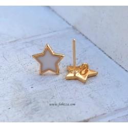 304 Ανοξείδωτο Ατσάλι, Σκουλαρίκια με Σύνδεσο, Αστέρι, Χρυσή Βάσης, σε Λευκό